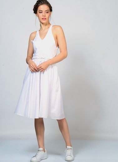 Brigitte Bardot Elbise Beyaz